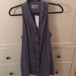 Urban Outfitters XS sleeveless blue buttonup dress